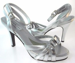 TOUCH UPS DOLLY WOMEN'S SILVER METALLIC STRAPPY... - $59.99