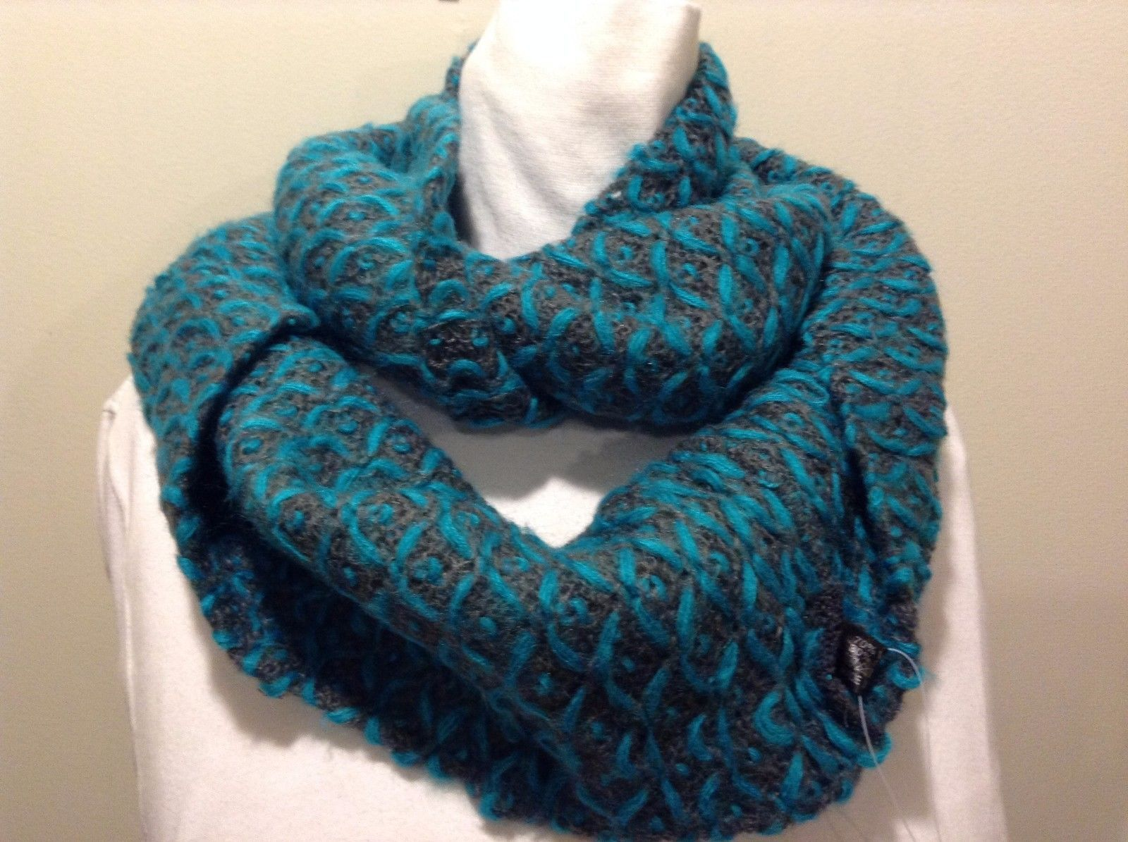 Mad About Style Wool Blend Gray Blue X Stitch Infinity Scarf