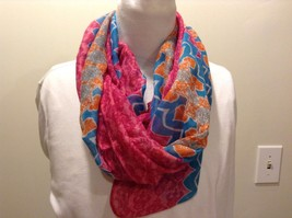 Pink Blue Orange Gray Decorative Design Infinity Scarf 100% Polyester
