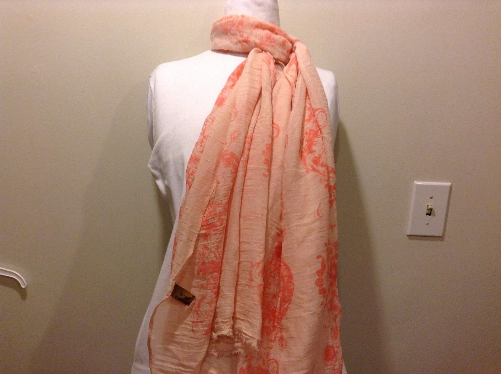 Cotton Blend Pink Floral Clock Designs Sheer Scarf