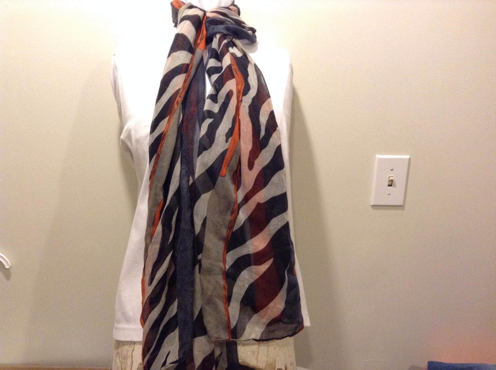 Black White Blue Orange Gray Zebra Circles Stripes Sheer Scarf 100% Polyester