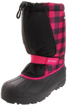 Columbia Powderbug Print By1281 011, Youth Blk/Pink Winter Boots Size 7 Y - $50.99