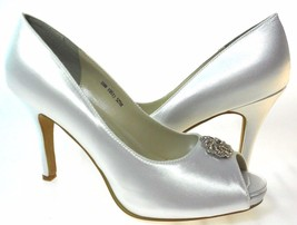 TOUCH UPS JOY WHITE SATIN OPEN TOE HI HEEL SHOES,#525 - $24.74