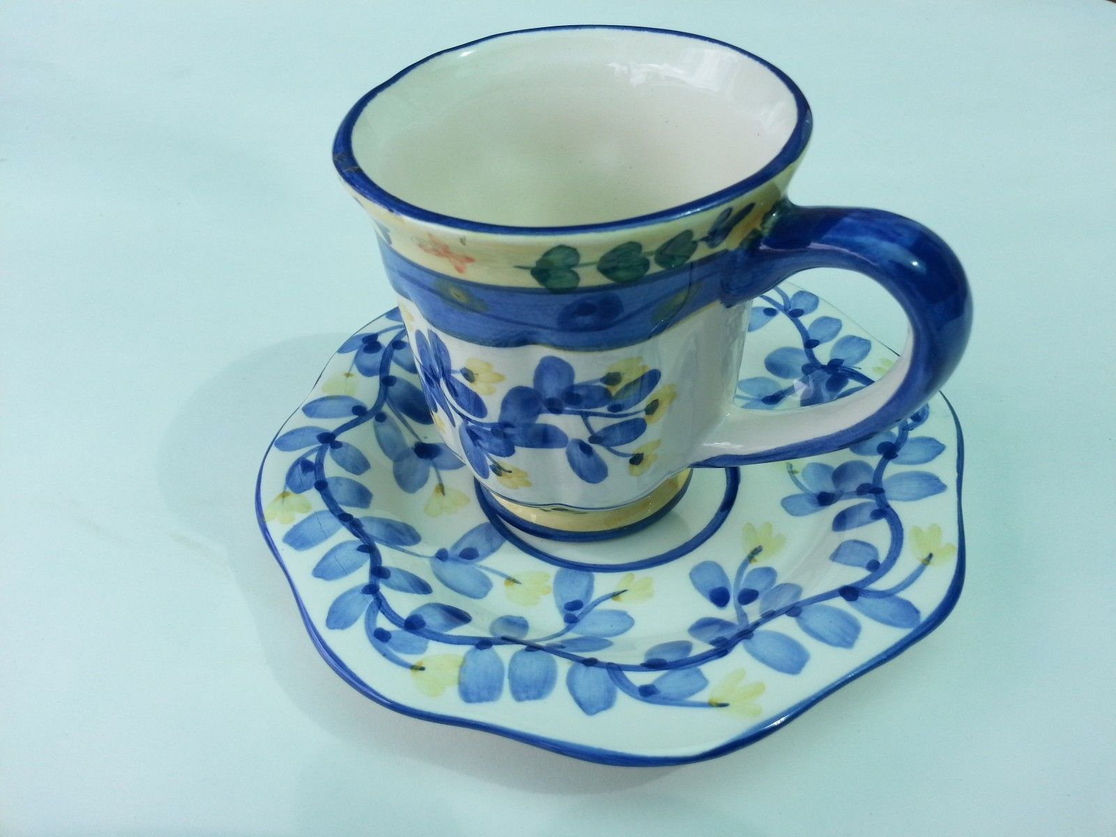 Primary image for  ceramic tea coffee cup mug with saucer white and blue floral