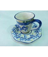 ceramic tea coffee cup mug with saucer white and blue floral - $12.19