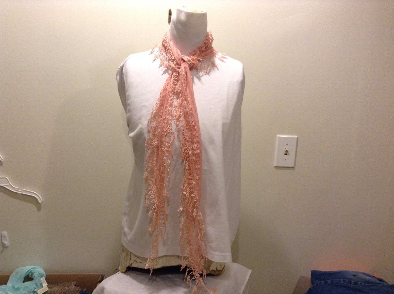 Pink Sheer Scarf Diamond Shaped Floral Design Polyester Blend