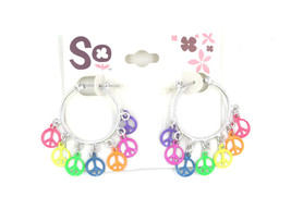 New Pair of Hoop Earrings with Rainbow Colored Peace Signs by SO #E1078 - $4.94