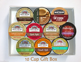 10 Cup Hot CHOCOLATE & Cider GIFT BOX! Single Serve Cup GIFT! Free Shipp... - $19.98