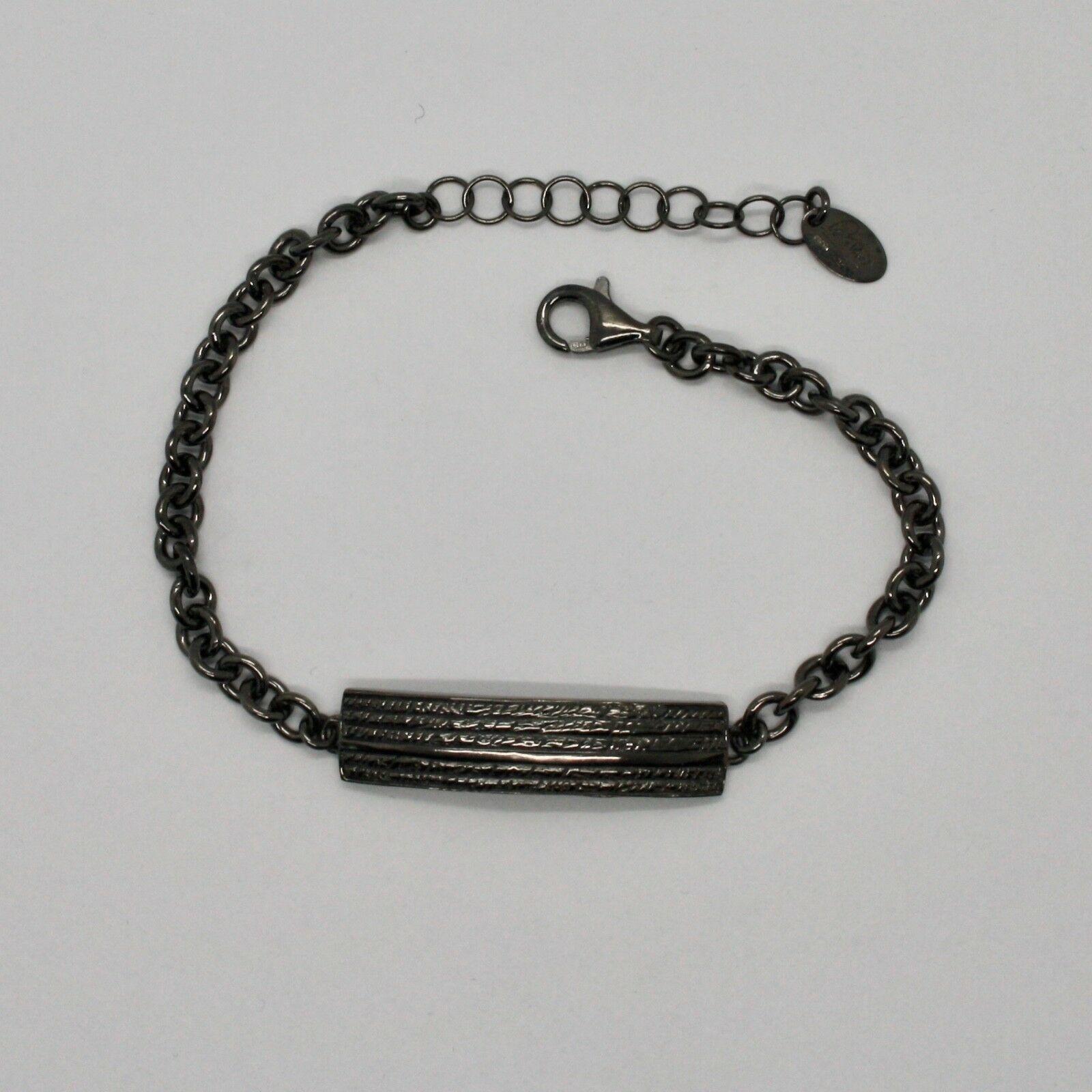 Armband 925 Silber Brüniert Schwarz, Herren Damen By Maria Ielpo Made in Italy