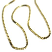 """SOLID 18K YELLOW GOLD CHAIN 1.1 MM VENETIAN SQUARE BOX 17.7"""", 45 cm, ITALY MADE image 3"""