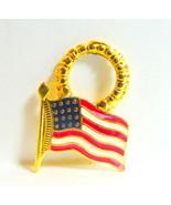 American Flag Charm Dangling Hoop   - $4.46