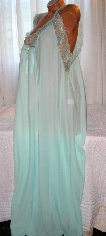 Mint Green Toga Style Lace Open Tie Look Side Long Nightgown 1X 2X 3X Plus Size