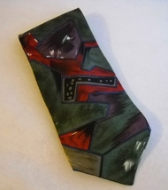 Bugatti Multi Color Neck Tie 100% Italian Silk Mens Abstract Red Green P... - $24.00