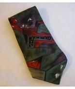 Bugatti Multi Color Neck Tie 100% Italian Silk Mens Abstract Red Green P... - $24.00
