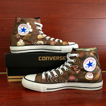 Chocolate Original Design Women Men's Converse All Star Hand Painted Shoes image 3