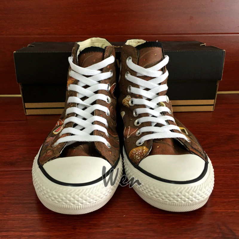 Chocolate Original Design Women Men's Converse All Star Hand Painted Shoes image 5