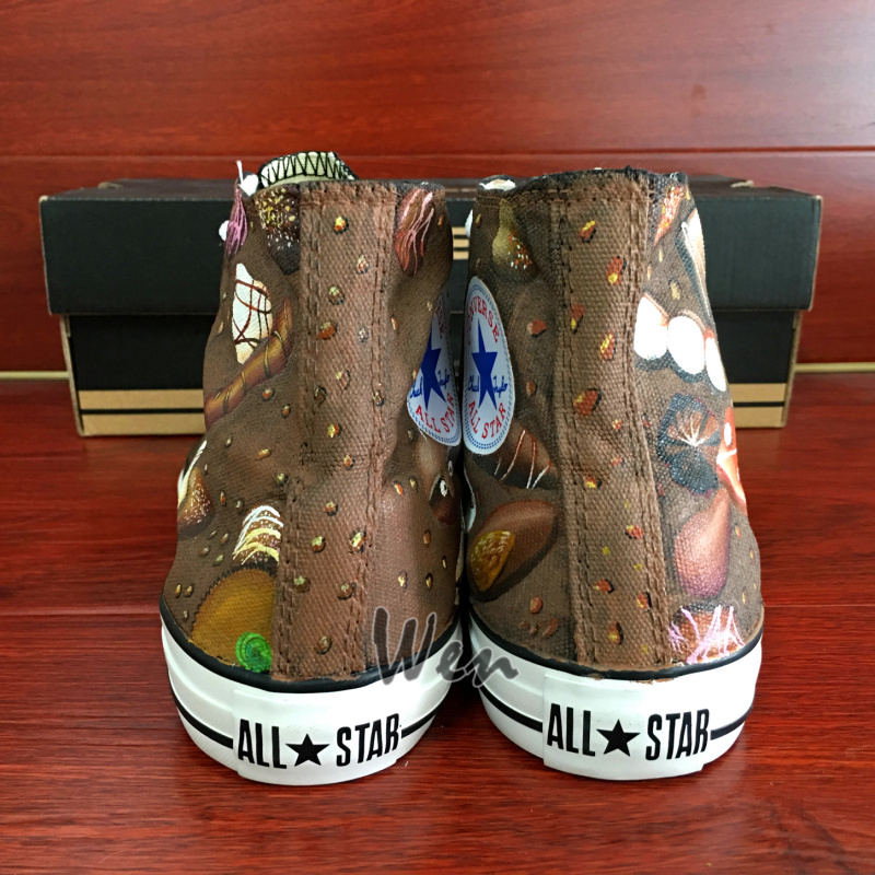 Chocolate Original Design Women Men's Converse All Star Hand Painted Shoes image 4