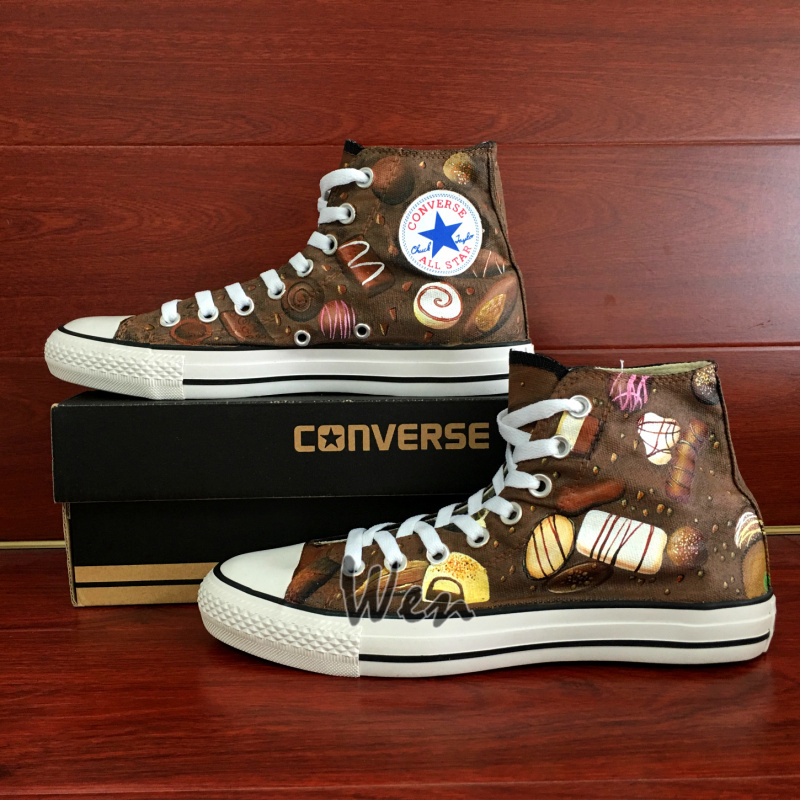 Chocolate Original Design Women Men's Converse All Star Hand Painted Shoes image 2