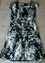H&M  Black With Floral Print Brown Wrap Around ... - $37.39