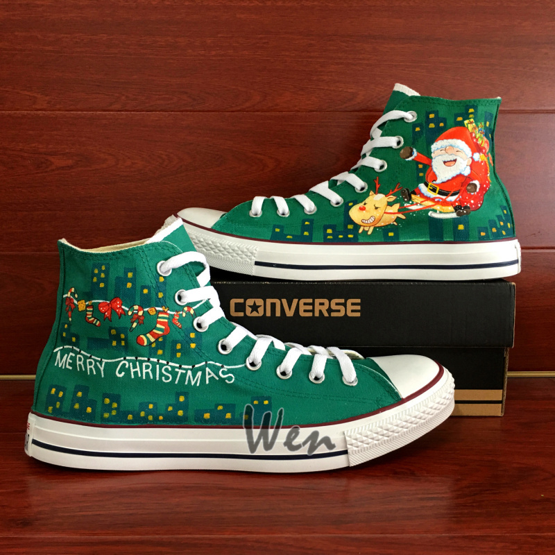 Santa Claus Reindeer Christmas Design Converse All Star Hand Painted Shoes Green for sale  USA