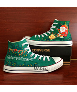 Santa Claus Reindeer Christmas Design Converse All Star Hand Painted Sho... - $155.00