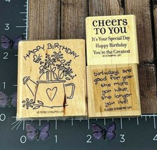 Stampin' Up! Happy Birthday Rubber Stamp Set of 3 Good For You Cheers #A78 - $2.72