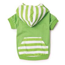 Brite Stripe Pullover Shirt Coat Jacket  With Hoodie In Parrott Green Size XXS - $8.99