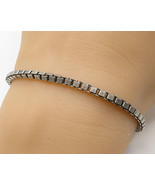 ITALY 925 Sterling Silver - Vintage Large Box Chain Design Bracelet - B2475 - $51.87