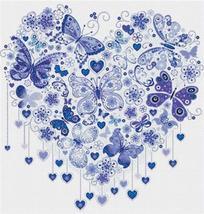 Dark Blue Butterfly Heart  cross stitch chart X Squared Cross Stitch  - $7.00