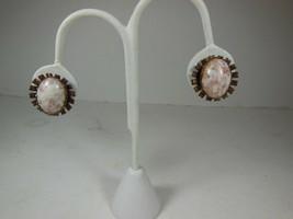 Vintage Copper & Confetti Lucite Screw Back Earrings - $10.88