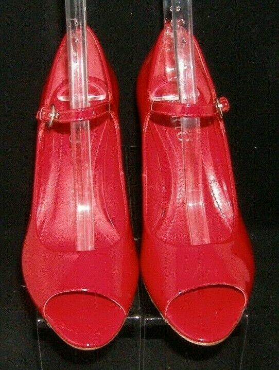 Franco Sarto 'Fashioni' red patent leather peep toe mary jane cork wedges 8M image 6