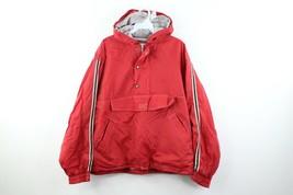 Vintage 90s Gap Streetwear Mens Medium Boxy Fit Lined Hooded Anorak Jacket Red - $54.40