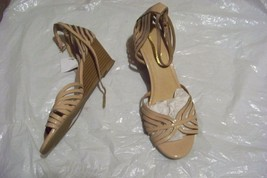womens montego bay club tan patent multi strap wedge heels shoes size 9 1/2 - $19.78