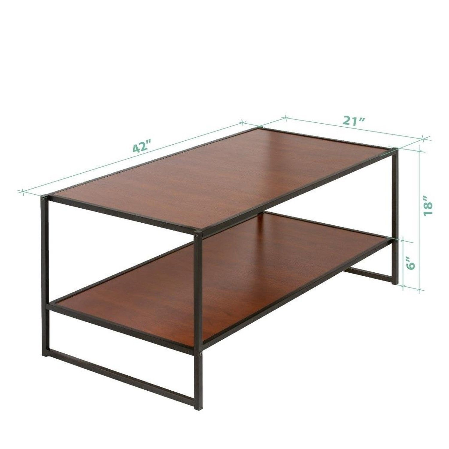 Zinus Modern Studio Collection Deluxe Rectangular Coffee Table Brown Tables