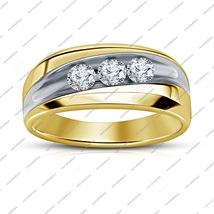 Round Cut Diamond 14k Yellow Gold Plated Pure 925 Silver Men's Wedding B... - $76.99