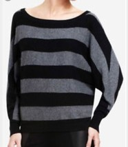 Bcbg Max Azria Camille Sweater Large L Dolman Top Black Gray Stripe Cash... - $31.49
