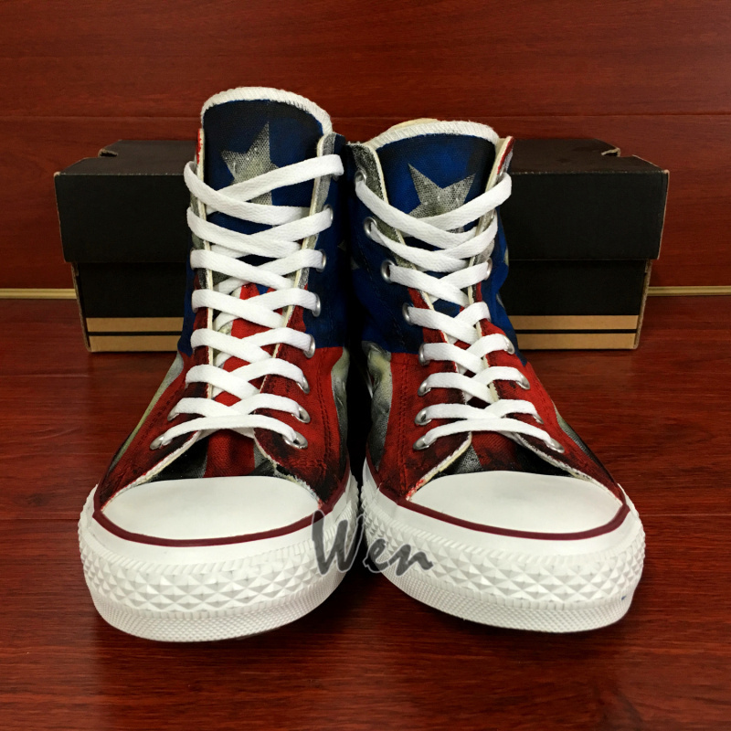 USA Puerto Rico Flag Converse All Star Design Hand Painted Canvas Shoes Unisex