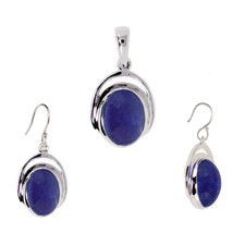 925 Sterling Silver Natural Oval Tanzanite Pendant Earring Jewelry Set SHPDS011 - $37.39