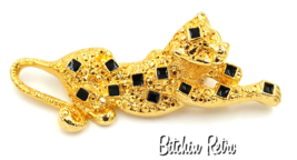 Contemporary Cheetah Brooch With Black Enamel Squares Modernist Playful Retro - $13.00