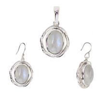 Oval Rainbow Moonstone 925 Sterling Silver Pendant Earring Jewelry Set SHPDS013 - $14.95