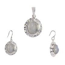 925 Sterling Silver Oval Rainbow Moonstone Pendant Earring Jewelry Set SHPDS015 - $14.95