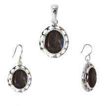 925 Sterling Silver Oval Labradorite Pendant Earring Jewelry Set SHPDS020 - $14.91