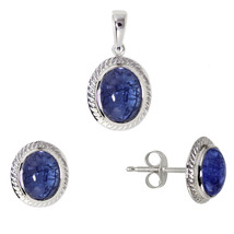 925 Sterling Silver Natural Tanzanite Pendant Earring Stud Jewelry Set SHPDS019 - $40.19