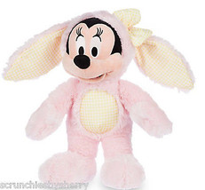 Disney Store Minnie Mouse Easter Bunny Plush Toy Pink Yellow Gingham 2016 - $64.95