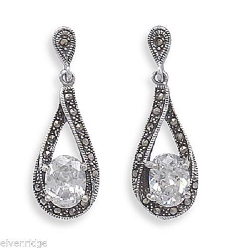 Marcasite Post Earrings with Oval CZ Drop Sterling Silver