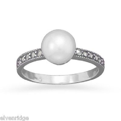 Marcasite and Cultured Freshwater Pearl Ring Sterling Silver