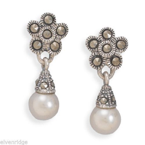 Marcasite Earrings with Imitation Pearl Drop Sterling Silver