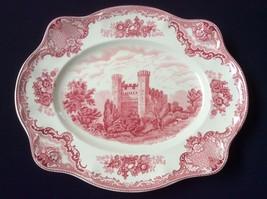"Vtg Made In England Johnson Brothers Pink Old Britain Castles 15.5""  Platter - $148.50"