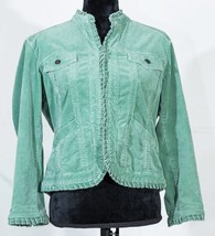Chico's womens corduroy cropped jacket green size 1 - $23.76