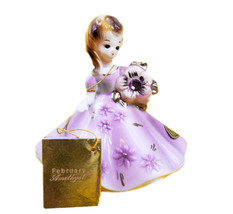 "Josef Originals  3 3/4"" February Amethyst  Girl Figurine original sticker & tag - $38.56"